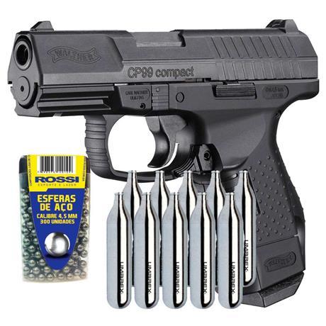 Pistola CO2 Walther CP99 Compact (Blow Back) 4.5mm + 10 CO2 e 300 Esferas