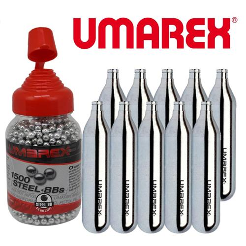 Kit 10 Cilindros CO2 Umarex + 1500 Esferas de Aço 4.5 Umarex