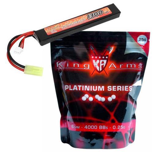 Bateria Airsoft LIPO 7,4V 1300MAH + 4000bbs 0,25G Platinum Séries King Arms