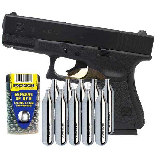 Pistola CO2 Glock 19 4.5 Slide Metal + 10 CO2 e 300 Esferas