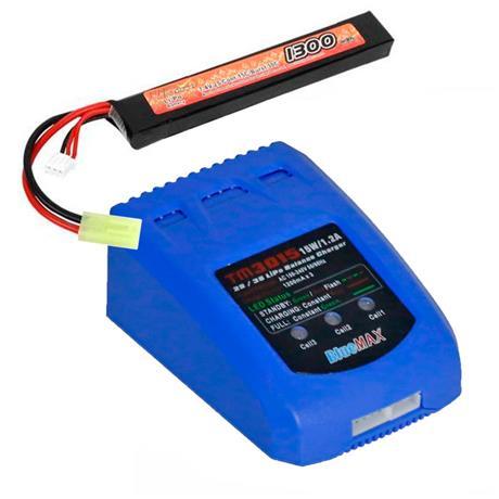 Carregador de Baterias LIPO + Bateria Lipo 7.4V 1300MAH