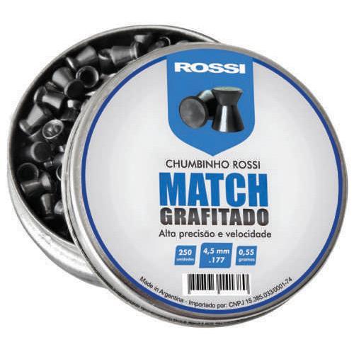 Chumbinho Rossi Match Grafitado - Cal 4.5mm (250UN) Alta Precisão e Velocidade