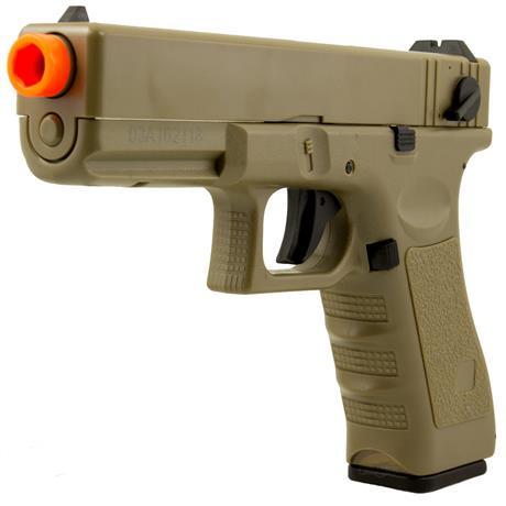 Pistola Airsoft Elétrica G18C Glock (Semi Metal) Cor Areia -