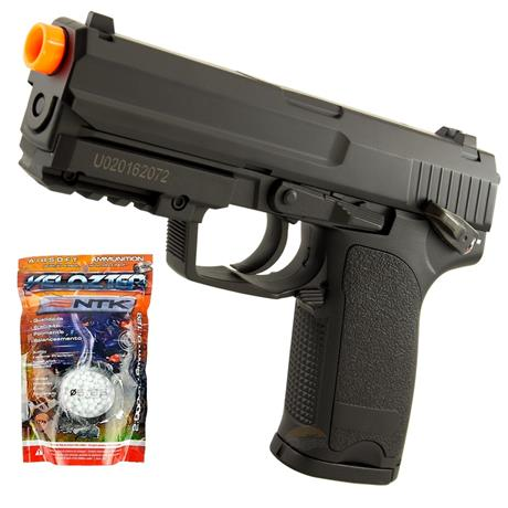 Pistola Airsoft Eletrica USP Cyma (FULL METAL 850GRAMAS)+ 2.000 BBS 0,12G Velozter