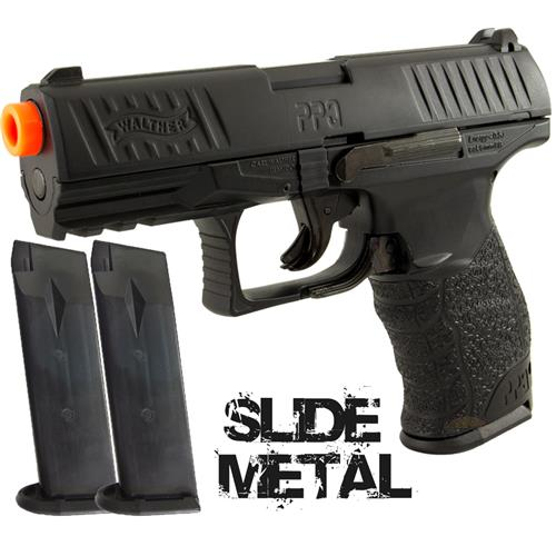 Pistola Airsoft Walther PPQ Black (Slide Metal) Umarex + 02 Magazines Extras