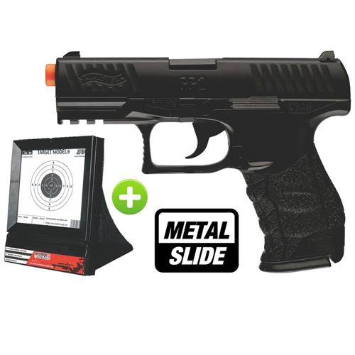 Pistola Airsoft Walther PPQ Black (SLIDE METAL) - Cal 6mm (UMAREX) + Alvo Swiss Arms