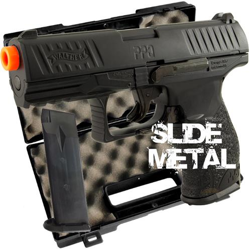 Pistola Airsoft Walther PPQ Black Slide Metal 6mm (Umarex) + Magazine Extra + Case Rossi