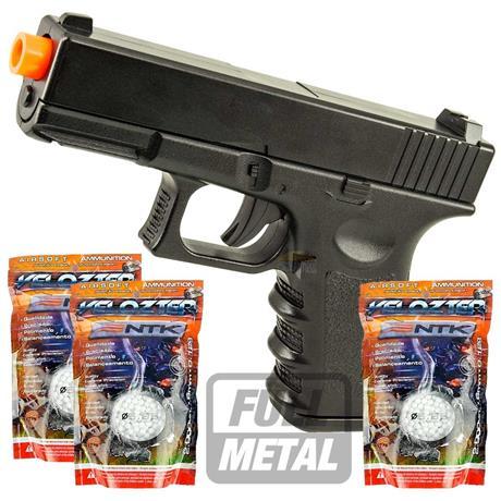 Pistola Airsoft GLOCK Full Metal + 6000 BBS Velozter