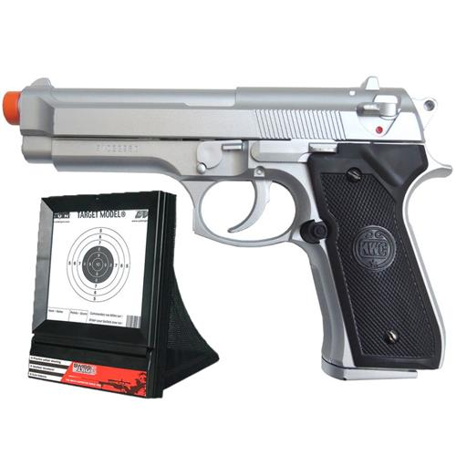 Pistola de Airsoft Beretta 92 Estilo Cromada 6mm (KWC) + Alvo Coletor Swiss Arms