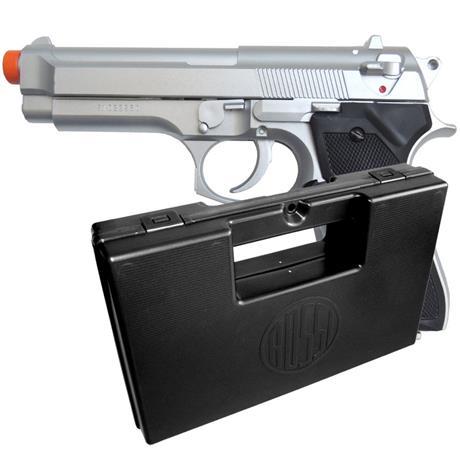 Pistola Airsoft Beretta 92 Estilo Cromada KWC + Pistol Case