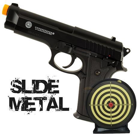Airsoft Pistola Taurus PT92 (Slide Metal) 6mm Cybergun + Alvo Colante Swiss Arms
