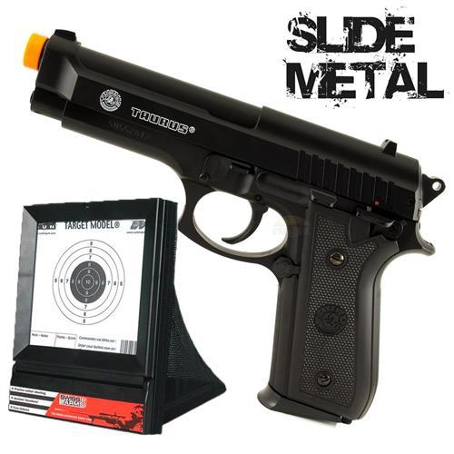Pistola Taurus PT92 Metal Slide 6mm Cybergun + Alvo Coletor Swiss Arms