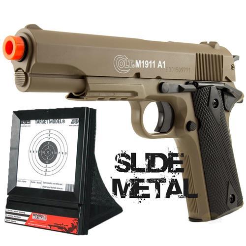 Pistola de Airsoft COLT 1911 A1 Edição Especial cor Areia (SLIDE METAL) + Alvo Coletor