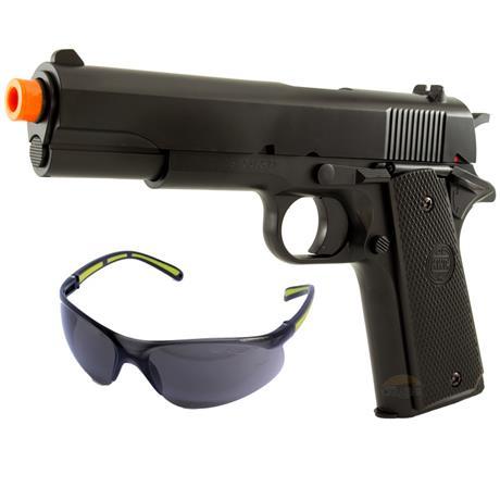 Pistola Airsoft 1911 6mm (KWC) + Oculos de Protecao Mercury