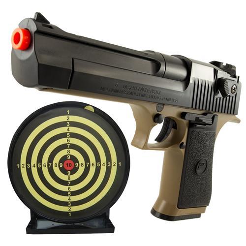 Pistola Airsoft Desert Eagle .50 AE TAN + Alvo Colante