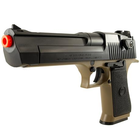 Pistola Airsoft Desert Eagle .50 Tan e Black (Magazine 190BBS) 6mm CYBERGUN