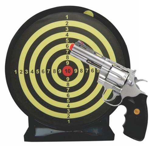 """Revolver de Airsoft 357 Magnum 4"""" Estilo Cromado e Alvo Colante com Coletor"""