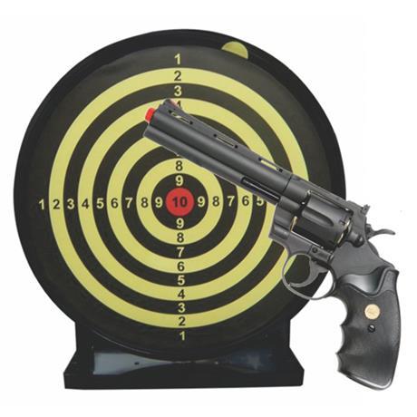 """Revolver Airsoft Spring 357 Magnum 6"""" e Alvo Colante com Coletor Swiss Arms"""