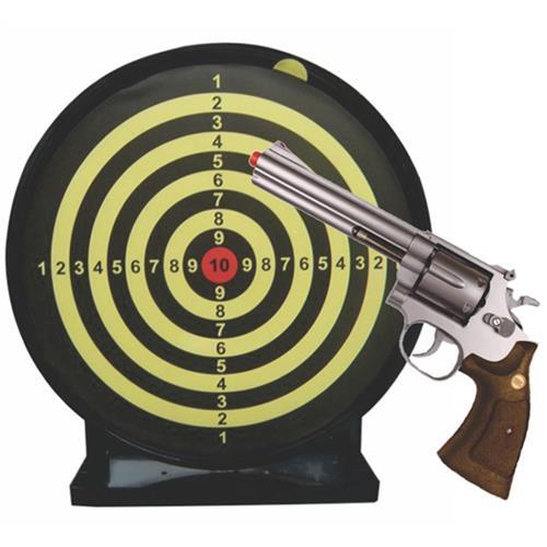 """Revolver Airsoft Spring 357 Magnum 6"""" Prata (Cabo Imitando Madeira) e Alvo Colante com Coletor"""