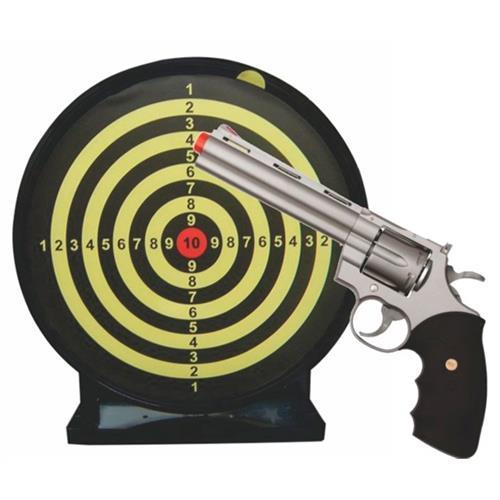 """Revolver Airsoft Spring 357 Magnum 6"""" (Prata Estilo Cromado) + Alvo Colante com Coletor"""