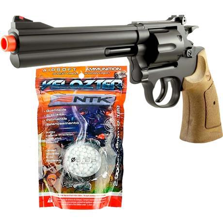 """Airsoft Revolver 357 Magnum 6"""" + BBS 0.12g 2.000UN Velozter"""