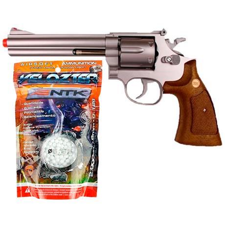 """Airsoft Revolver Spring Magnum 357 Prata 6"""" + Velozter 2.000un 0.12g"""