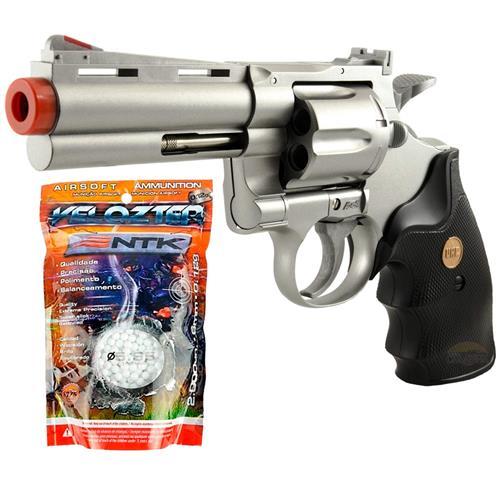 """Airsoft Revolver Magnum 4"""" Prata + Esferas 0.12g 2.000un Velozter"""