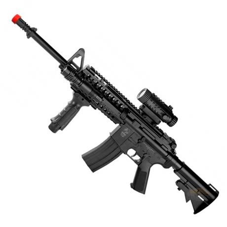 Rifle Airsoft M4A1 RIS (Eletrico) + (Lanterna+Frontgrip+Luneta Falsa) - Cal 6mm - CyberGun
