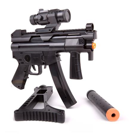 Rifle Airsoft Submetralhadora (Eletrico) TAC R71 + Silenciador + Falso Red Dot - Cal 6mm (Crosman)