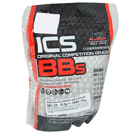 Munição Airsoft ICS Original Competition Grade (BBS) BRANCA 0,20g 3500 UN - Cal 6mm