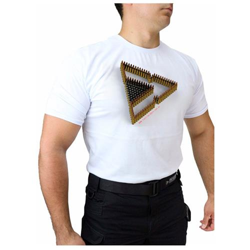 Camiseta Branca Tactical DACS - TRIANGULO DE MUNICAO (M)