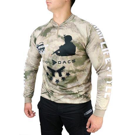 Camisa Sublimada Airsoft Dry Fit com Proteção Solar Camuflada Tam: G Dacs