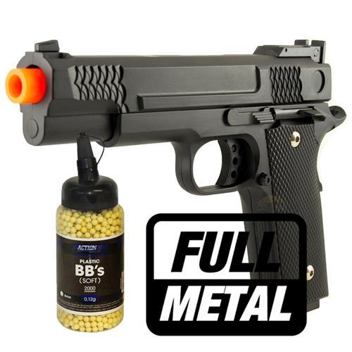 Pistola de Airsoft 1911 Black (FULL METAL) + 2.000 BBS
