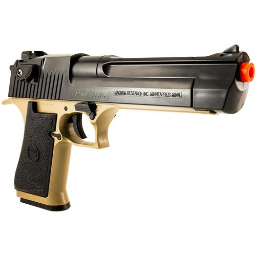 Pistola Airsoft Desert Eagle .50 Tan e Black (Magazine 190BBS) 6mm CYBERGUN