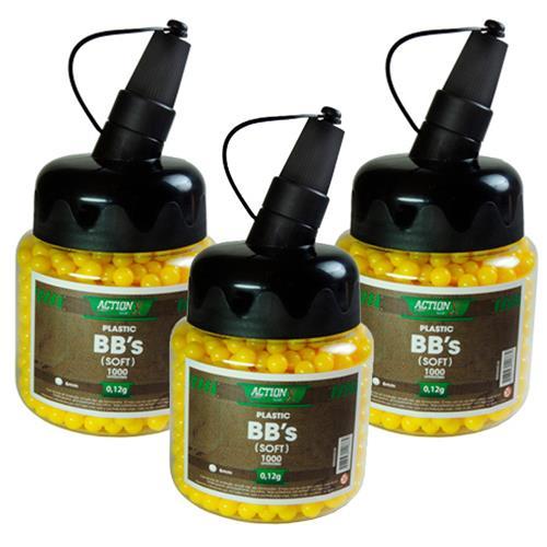 03 Frascos de Munição Airsoft (BBS) 0,12g 6000 Unidades Cal 6mm - BB KING