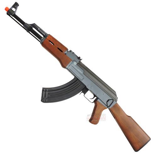 Rifle Airsoft AK47S Kalashnikov (Eletrico)  Semi-Metal - 02 Magazines de Alta Capacidade para 600Bbs