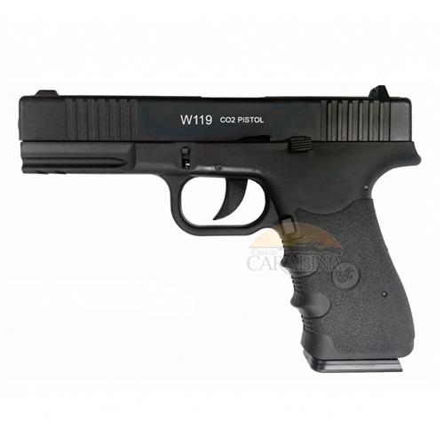 Pistola de Pressão CO2 W119 Slide Metal Blow Back 4.5