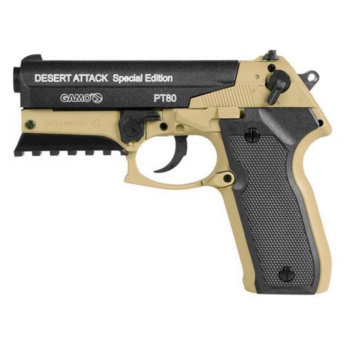 Pistola de Pressão CO2 Gamo PT80 DESERT ATTACK SE 4.5
