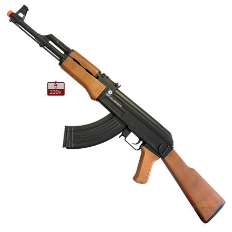 Rifle de Airsoft AK47 Eletrico 220v + Bandoleira - CyberGun