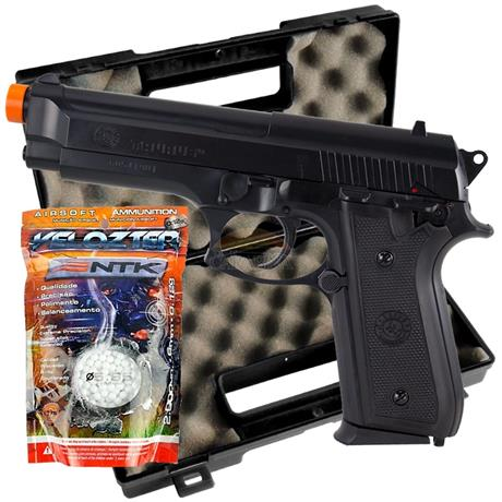Pistola Airsoft Taurus PT92 + Case Rossi + 2000bbs Velozter