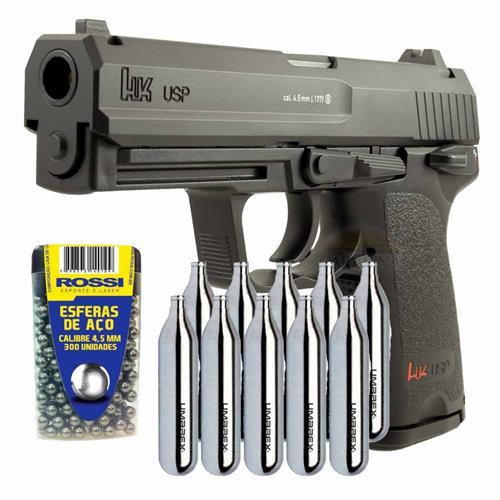 Pistola CO2 USP HK 4.5 + 10 CO2 + 300 Esferas