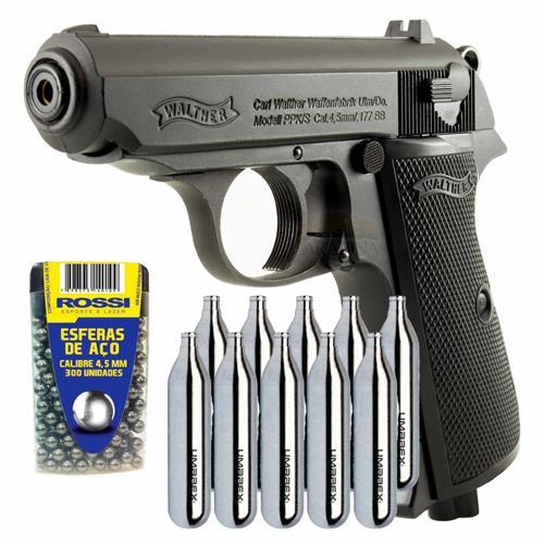 Pistola CO2 PPK/S 4.5 Full Metal Blow Back + 10 CO2 + 300 Esferas