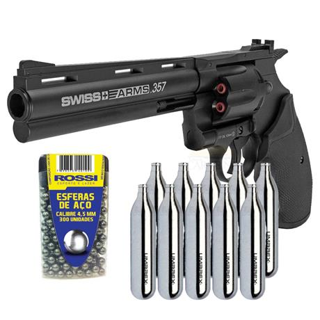 "Revolver CO2 Full Metal 4.5 COLT 357 6"" Swiss Arms + 10 CO2 + 300 Esferas"