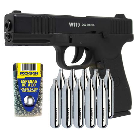 Pistola CO2 Glock Slide Metal Blow Back 4.5 + 10 CO2 + 300 Esferas