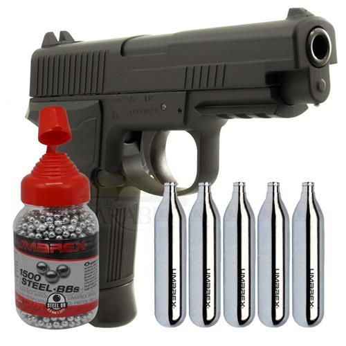 Pistola Umarex CO2 HPP Full Metal Blow Back 4.5 + 1500 Esferas e 5 CO2